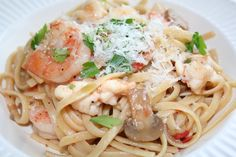 Shrimp and Lobster Linguine #MyAllrecipes #CookingTakeMeAway