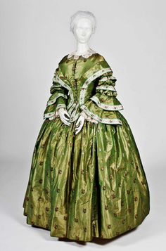 """Dress: ca. 1855-1860, American. In Wadsworth Atheneum Museum of Art (http://www.thewadsworth.org/) where it was featured in the exhibit """"Colts & Quilts: The Civil War Remembered, November 16, 2011 – May 6, 2012"""""""