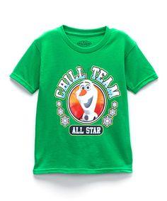 Look what I found on #zulily! Green Frozen Olaf Graphic Tee - Toddler & Boys by Frozen #zulilyfinds $7.99, regular 20.00