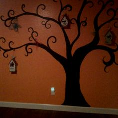 Tree mural in girl's room. Almost done!