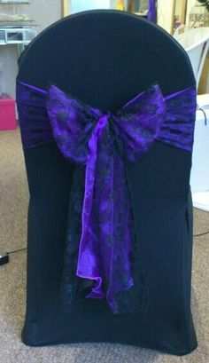 Purple With Black Lace - Chair Cover - By Vikki - At Sapphire Bespoke Events, 59 Poulton Road, Wallasey, Wirral