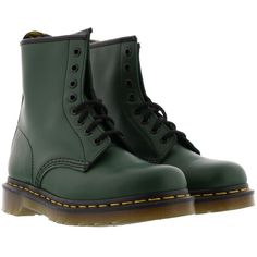 Dr. Martens Smooth Boots ($155) ❤ liked on Polyvore featuring shoes, boots, green, dr. martens, dr martens shoes, dr martens footwear, green boots and green shoes