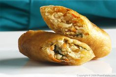 Mini Fried Vegetarian Eggrolls--Good tips: pan-fry taro (don't freeze it), cut egg roll sheets in half triangles, mashed tofu and mung beans for an interesting and hearty vegetarian version. Make a double batch.