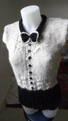 Pull chemise noeud papillon sans manche : Pulls, gilets par annbcreation