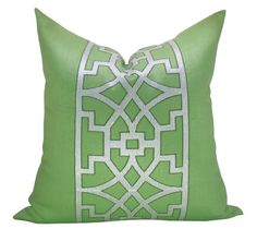 Schumacher Don't Fret pillow cover in Lettuce by sparkmodern