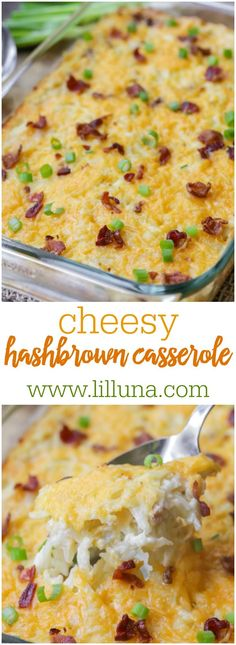 Cheesy Hashbrown Casserole - just 5 minutes to put together and then throw in the oven. It's one of the best and easiest potato side dish recipes you'll ever try!!