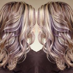 50 Long Blonde Hair Color Ideas in Many of us wondered that at some point we would look like athlete blonde tresses. Don't worry here we have prepared a list of yellow color ideas to he. Purple Highlights Blonde Hair, Cool Blonde Hair, Highlights 2017, Blonde Fall Hair Color, Red Blonde, Platinum Blonde, Purple Peekaboo Highlights, Blond Hair With Lowlights, Fall Hair Highlights