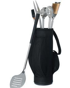 Novelty 5 Piece BBQ Tools in Black Golf Bag and Golf Grips #GolfFavors #wedding #weddingfavor #favor http://www.bluerainbowdesign.com/WeddingFavorProduct.aspx?ProductID=PR122011174987JA1234567ABCBRD66883=WEDDI=GROUP=WGOLF