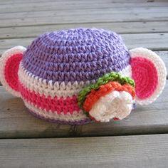 Crochet MONKEY hat for a baby girl.  Handmade at Mummi studio.--so cute!