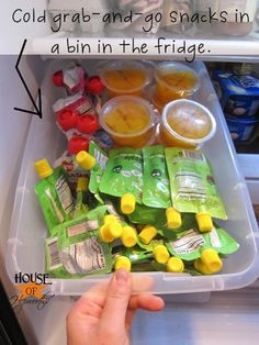 Keep a bin in your fridge to house all the school lunch snacks. As a bonus, she gives lots of gluten-free tips #school #organizing #glutenfree #lunch