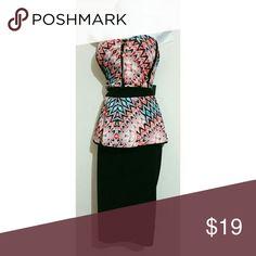 Nwt 3X 4X sweetheart peplum dress Nwt coral teal black white stretch peplum dress Size 3X 4X available Dresses Midi