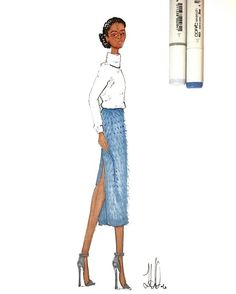 Knit Sweater and Mohair Skirt Illustration