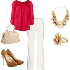 Red, white and tan, created by melissa-bachman.polyvore.com