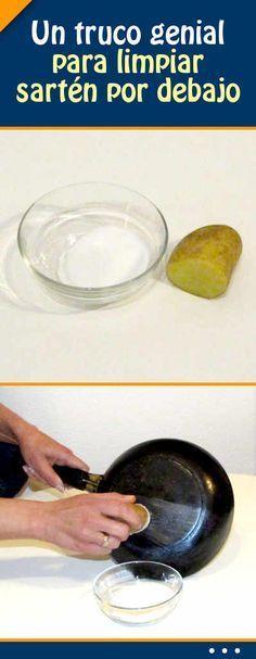 Un #truco genial para #limpiar #sartén por debajo
