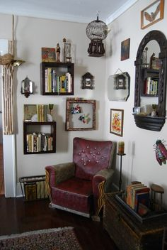 Janice & Jacob's Home of Magical Curiosities - awesome/weird reading nook. like the square floating shelves