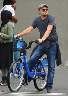Leo, we love that you are using CitiBike, but seriously, where is your helmet? | Look At Leonardo DiCaprio Riding A CitiBike