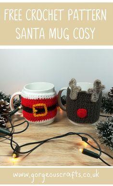 Santa Mug Cosy - Free Crochet Pattern - Gorgeous Crafts - Free Santa Mug Cosy Crochet Pattern - Crochet Mug Cozy, Crochet Santa, Christmas Crochet Patterns, Holiday Crochet, Christmas Knitting, Crochet Angels, Crochet Ornaments, Crochet Snowflakes, Crochet Amigurumi Free Patterns
