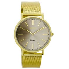 Oozoo Vintage Mesh Watch in Gold: The Vintage Mesh Collection is the perfect balance of style and comfort, with a vintage twist. A gold tone mesh strap with an adjustable clip-clasp allows for the perfect fit whilst complimenting gold hands and sundial face complete this watch.