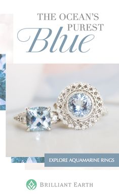 Discover stunning engagement rings pre-set with ethically sourced aquamarines. Named for the ocean's purest shades of blue, these alluring gems are a gorgeous centerpiece for our most popular settings. Jewelry Box, Jewelry Rings, Jewelry Accessories, Jewelry Making, Look Vintage, Up Girl, Diamond Are A Girls Best Friend, Or Rose, Rose Gold