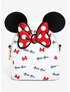 Carry your coins in the cutest way thanks to Minnie Mouse. This coin purse features Minnie Mouse ears with a black pom zipper pull.A BoxLunch x 3 Mickey Mouse Balloons, Minnie Mouse Bow, Cute Mini Backpacks, Girl Backpacks, Stylish Backpacks, Minnie Mouse Backpack, Mouse Illustration, Disney Purse, Flyer