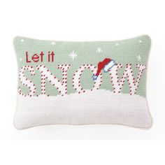 "Peking Handicraft Needlepoint ""Let it Snow"" Wool Throw Pillow & Reviews 