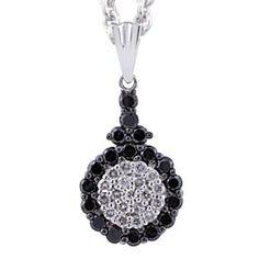 Malakan Jewelry - Silver Black Diamonds Pendant  55838A3