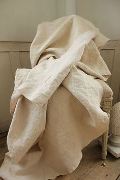 Antique French linen sheet ~ ideal for upholstery and curtains !