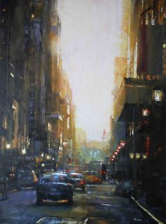 Manhattan Gold by Mark Lague ||||  Imagine this as an autumn setting, tall trees on the left and right, bright pale blue sky in the center, and a couple walking in the foreground.