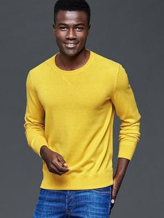 a3ecf0e311 Gap Long sleeves with finely ribbed cuffs, hem. Finely ribbed crewneck with  V inset. Hits at the hip. RJ Lewis · Men's Headshot Clothing Options