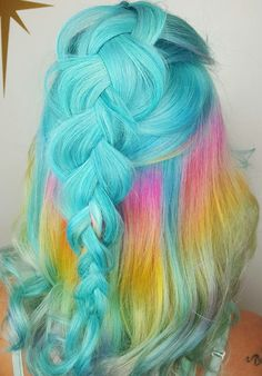 Blue pastel dyed hair color @hairbymisskellyo