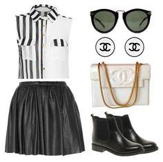Monochrome Stripe Sleeveless Shirt Karen Walker...