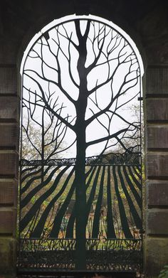 """Beautiful Iron Arched Gate ~ """"The Rabbit Gate"""" located at the Norton Priory Museum in Cheshire England"""