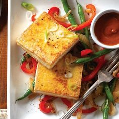 Crispy tofu with peanut sauce