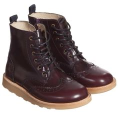 Young Soles Dark Red 'Sydney' Brogue Boots at Childrensalon.com