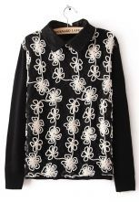 Black Lace Lapel Flowers Embroidery Sweater $33.87 #SheInside