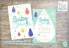 faire-part, baby shower, naissance, birth, bleu, blue, bébé, baby, gouttes, drops, aquarelle, watercolor, studio-lou.fr/