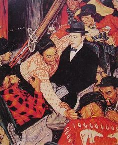 'SKIERS ON A TRAIN BY NORMAN ROCKWELL. (1962) My college roommate's Dad, John Proud from Bennington, Vermont was the model for the businessman in the center surrounded by a bunch of skiers on a train.