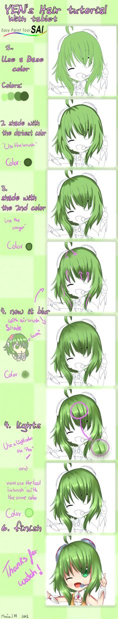 Sai Tutorial : Hair color by ~mania211 on deviantART