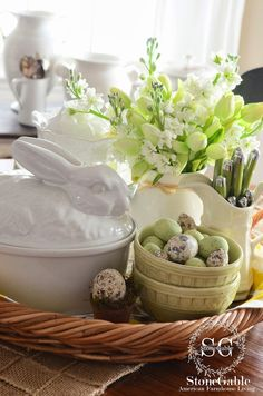 SPRING KITCHEN VIGNETTE. That chartreuse green is my favorite color and I love the white rabbit covered casserole. I've been looking for a vintage CA Pottery one. I do have a rooster I think would work in its place.