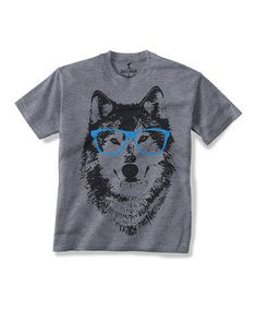 Look what I found on #zulily! Gray Spectacle Wolf Tee - Toddler & Kids by Skip N' Whistle #zulilyfinds
