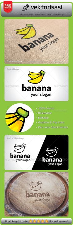 Banana Logo #GraphicRiver 100% Print Ready Vector Ai Illustrator Vector EPS JPG, PNG, PSD (3000×32000px high-res 300dpi) One Color (black/white) Editable Colors Editable Fonts Resizable Note: Download font to your system font folder before editing those files. The images or mockups in preview file is not included in main file. Need any further assistance or graphic work, don't hesitate to contact me. Please take a moment to rate this item. Thank you! Created: 2August13…