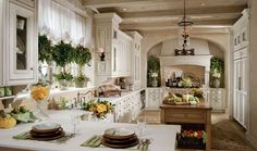 This luxurious kitchen is white with tons of floral arrangements and planters. The exposed wood beam kitchen is a nice architectural touch.  Source: https://www.zillow.com/digs/Home-Stratosphere-boards/Luxury-Kitchens/