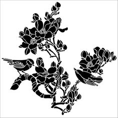 Birds & Blossom No 2 stencil from The Stencil Library JAPAN range. Buy stencils online. Stencil code JA115.