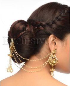 White Faux Pearl Hair Tikka & Earrings Set - Exclusively In