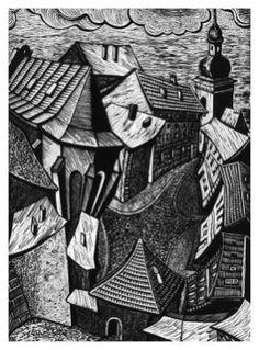 Master of linocut is also living in Tomaszow Lubelski graphic artist and illustrator Roman Mucha. Lino Art, Woodcut Art, Linocut Prints, Art Prints, Block Prints, Etching Prints, Scratchboard, Monochrom, Wood Engraving