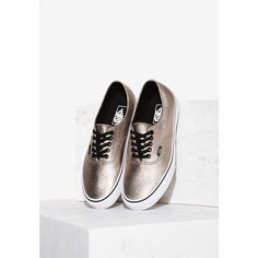 Vans Decon Leather Sneaker ($60) ❤ liked on Polyvore featuring shoes, sneakers, bronze, leather platform sneakers, black platform shoes, metallic sneakers, leather lace up sneakers and black sneakers