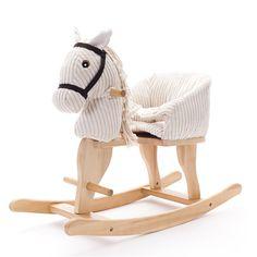 Caballo balancín bebé ¡Iiiih! Los niños se lo pasarán genial viviendo aventuras a lomos de este caballito balancín de tela y madera con sonido ¡Al galope!  Desde los 9 meses.