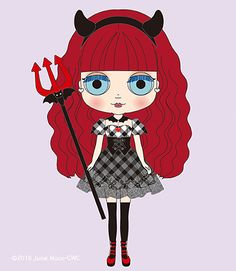 Cute and devilish, CWC Exclusive Devi Delacour's concept illustration is here! Sad Eyes, New Dolls, Bat Wings, Blythe Dolls, Paper Dolls, Favorite Color, Minnie Mouse, Disney Characters, Fictional Characters