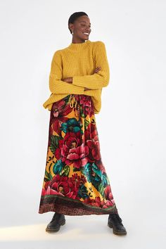 HIGH NECK SWEATER – Farm Rio Farm Rio, Mock Neck, Lace Skirt, Wool, Yellow, Long Sleeve, Skirts, Sweaters, How To Wear