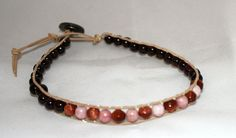 Beaded leather anklet  beaded ankle bracelet  by mvtreasures, $16.00